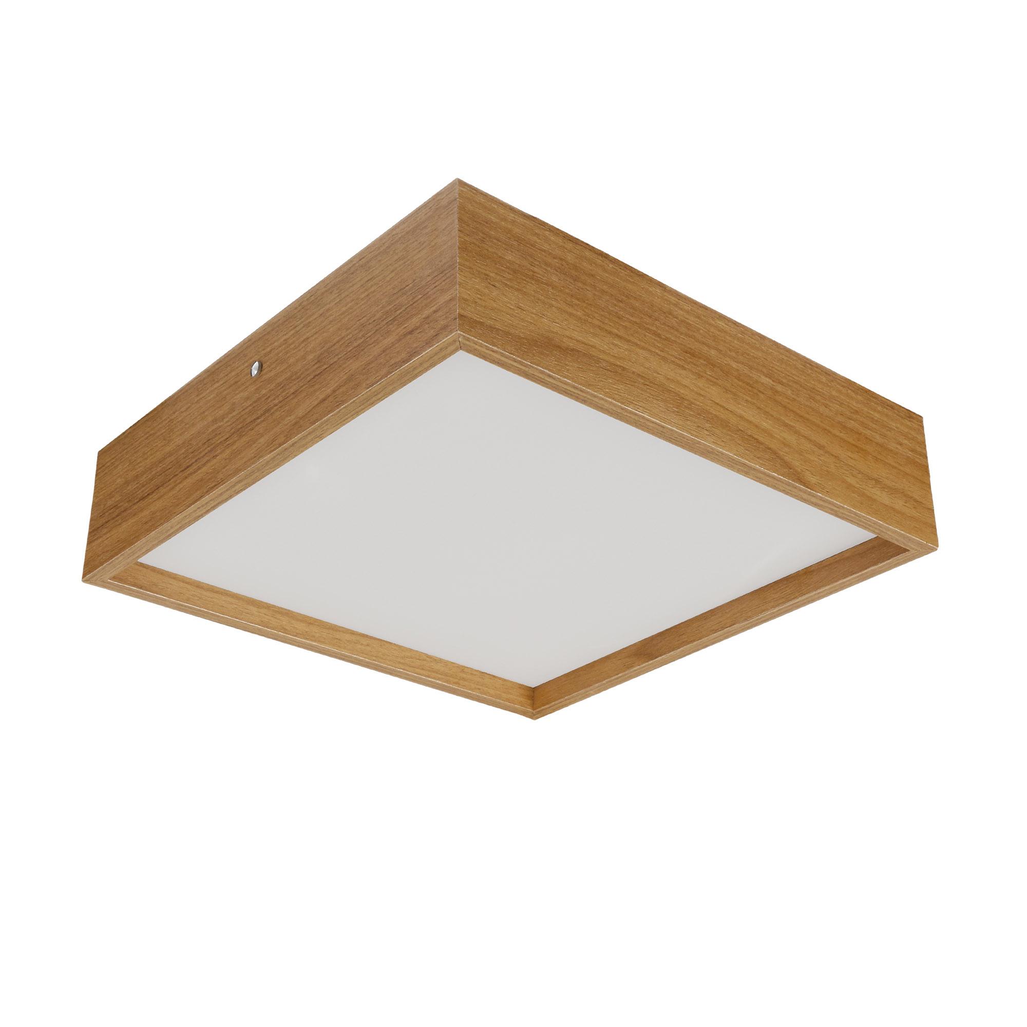 Plafon Quadrado Madeira 60x60cm 4 luzes Freijó