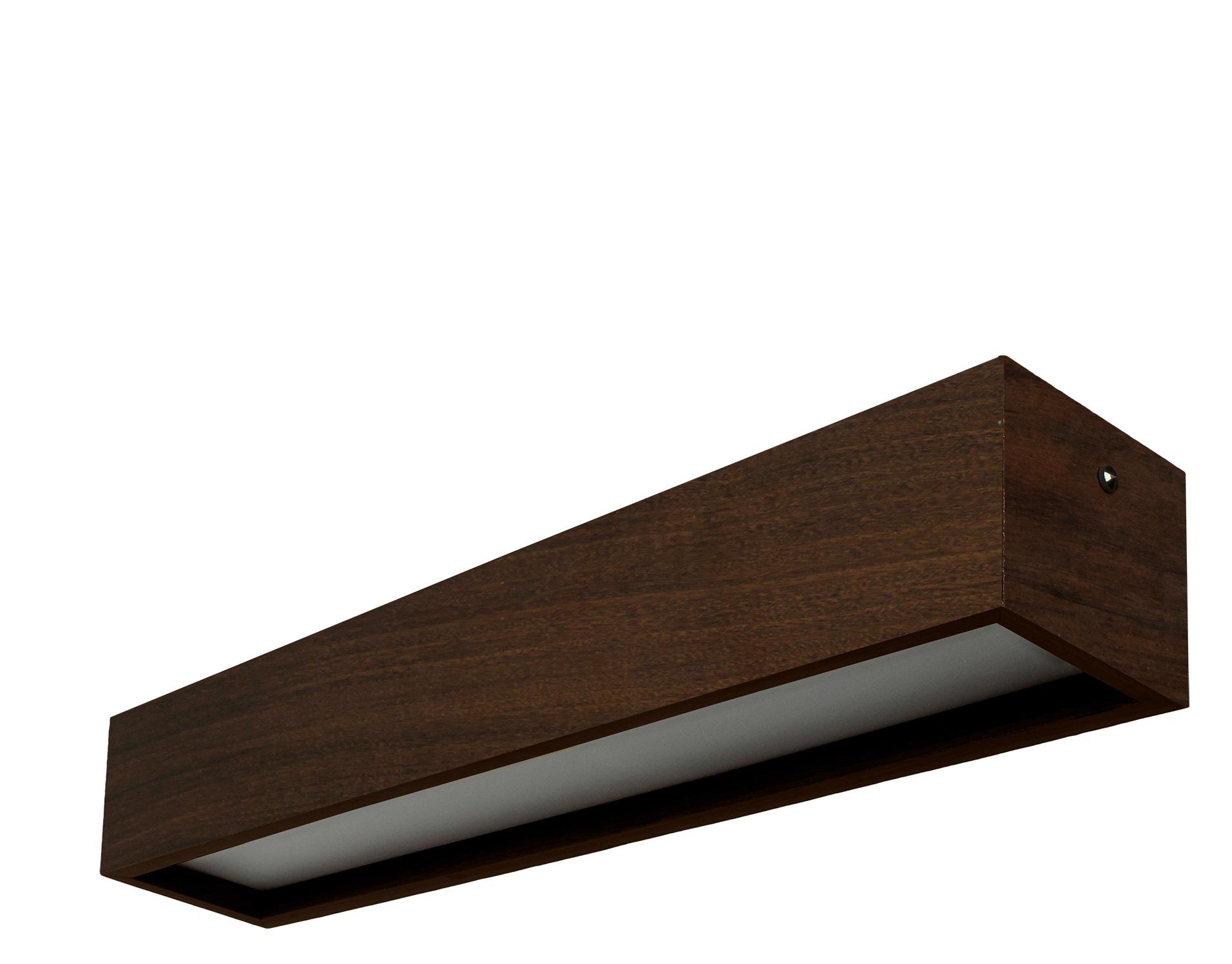 Plafon Madeira Wood Retângular 60x10cm - 1 ou 2 luzes G12