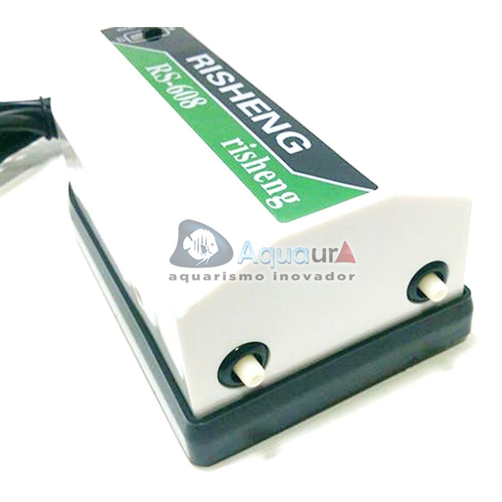 COMPRESSOR DE AR COM 2 SAÍDAS PARA AQUÁRIO RS608 - 110 volts