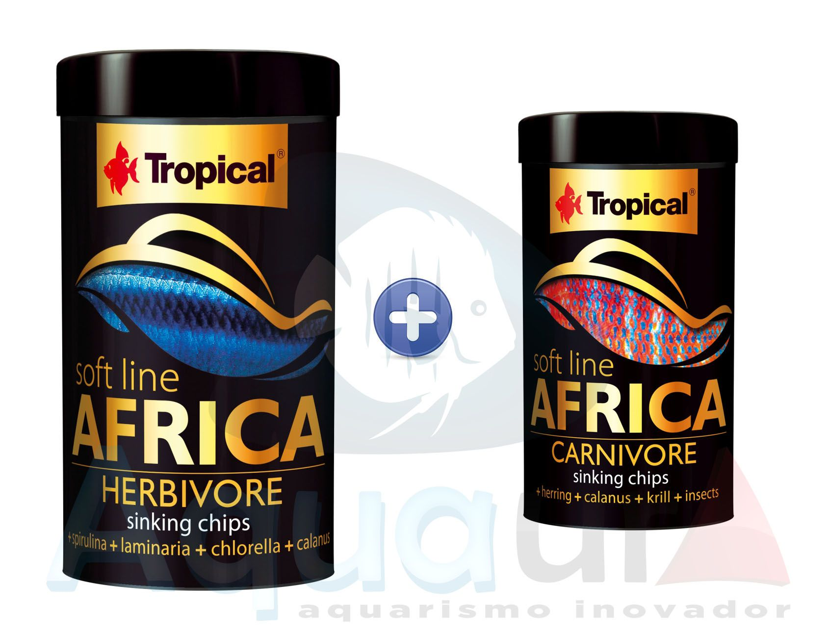 KIT RAÇÃO TROPICAL SOFT LINE AFRICA HERBIVORE 130 gr + CARNIVORE 52 gr