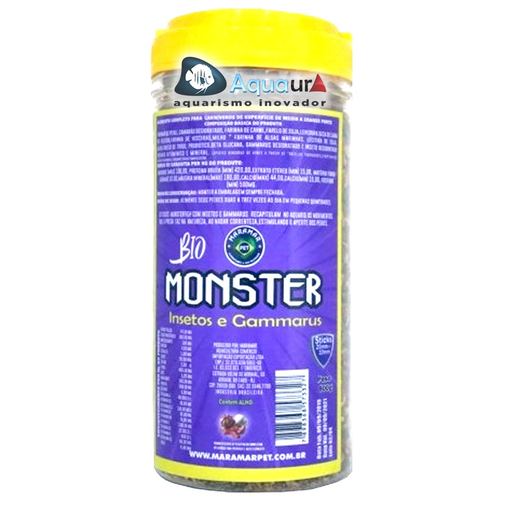 RAÇÃO MARAMAR BIO MONSTER INSETOS & GAMMARUS - Pote 800 gr
