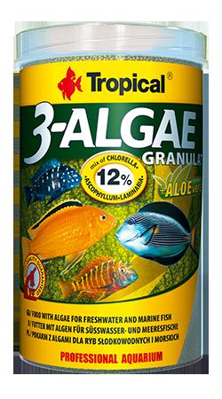 RAÇÃO TROPICAL 3-ALGAE GRANULAT - Pote 95 gr