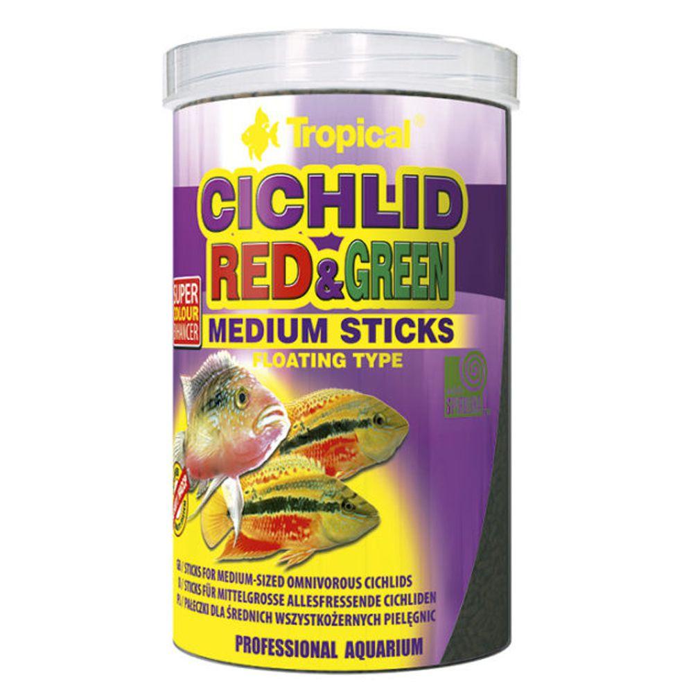 RAÇÃO TROPICAL CICHLID RED & GREEN (MEDIUM STICKS) - Pote 90 gr