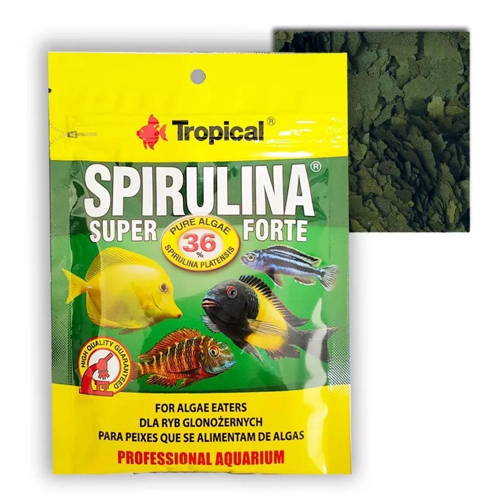 RAÇÃO TROPICAL SUPER SPIRULINA FORTE FLAKES  - Doypack 12 gr