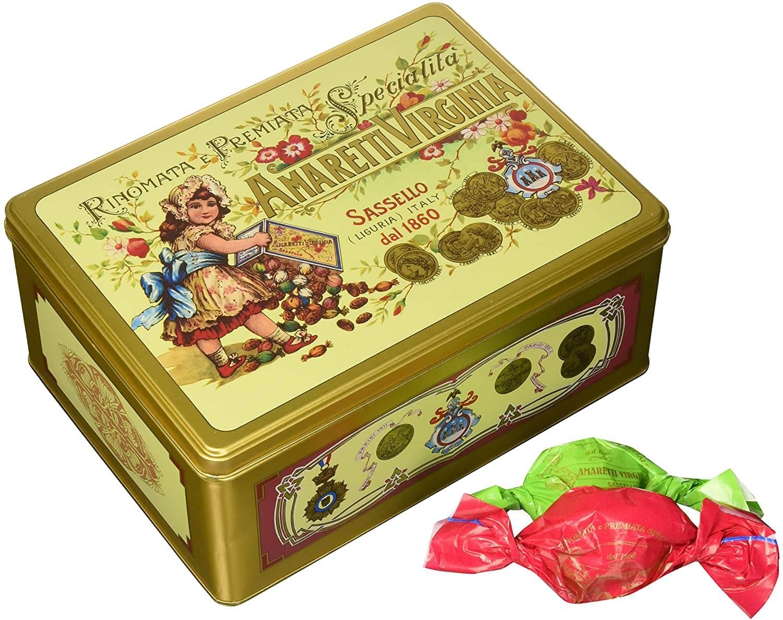 Amaretti Macio Virginia - Rinomata e Premiata Specialita Soft Amaretti - Lata Ouro Verde - 220gr