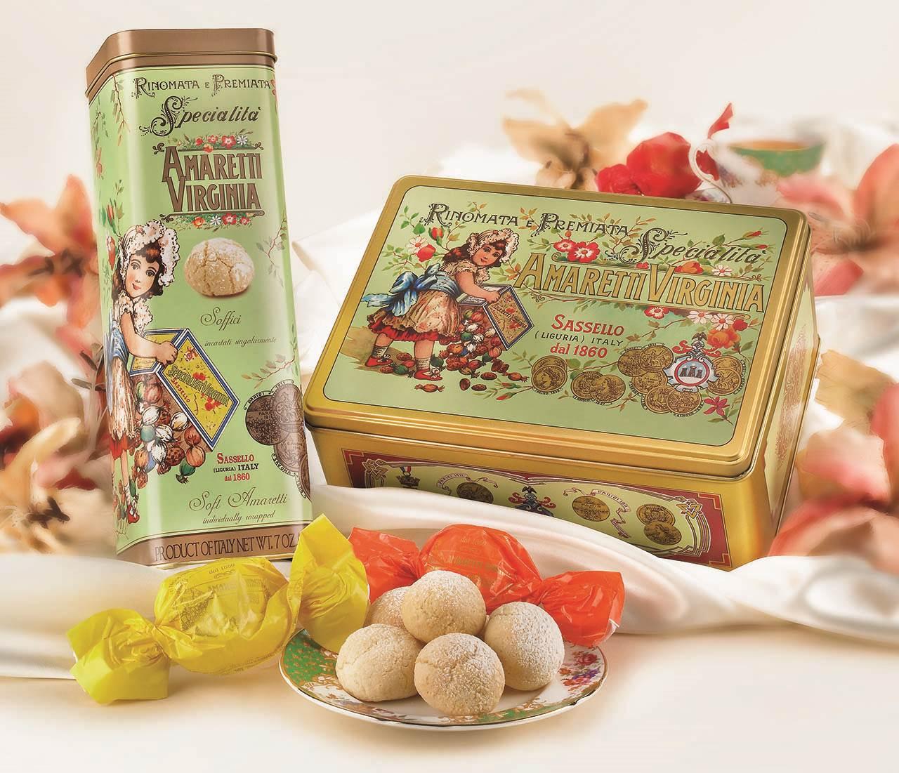 Amaretti Macio Virginia - Rinomata e Premiata Specialita Soft Amaretti - Lata Ouro Verde - 350g
