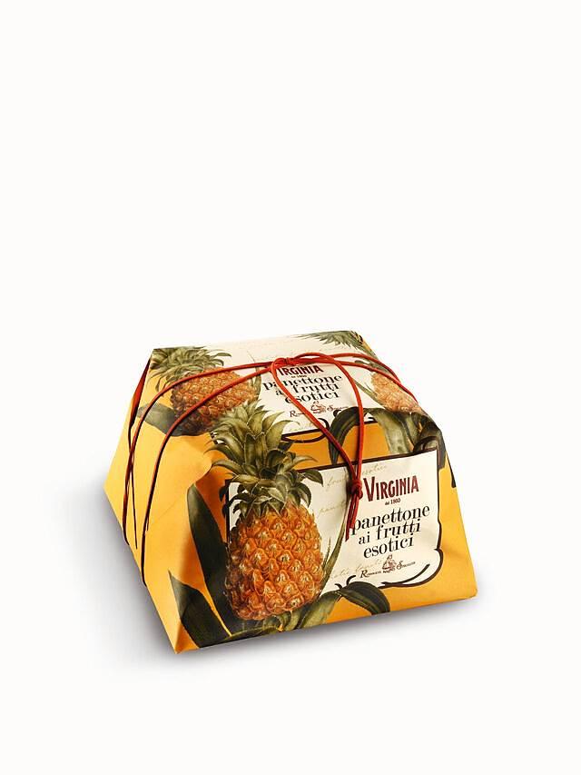 Panettone Frutas Exóticas Embrulhado a Mão 750gr - Abacaxi-Goiaba-Mamão - VIRGINIA