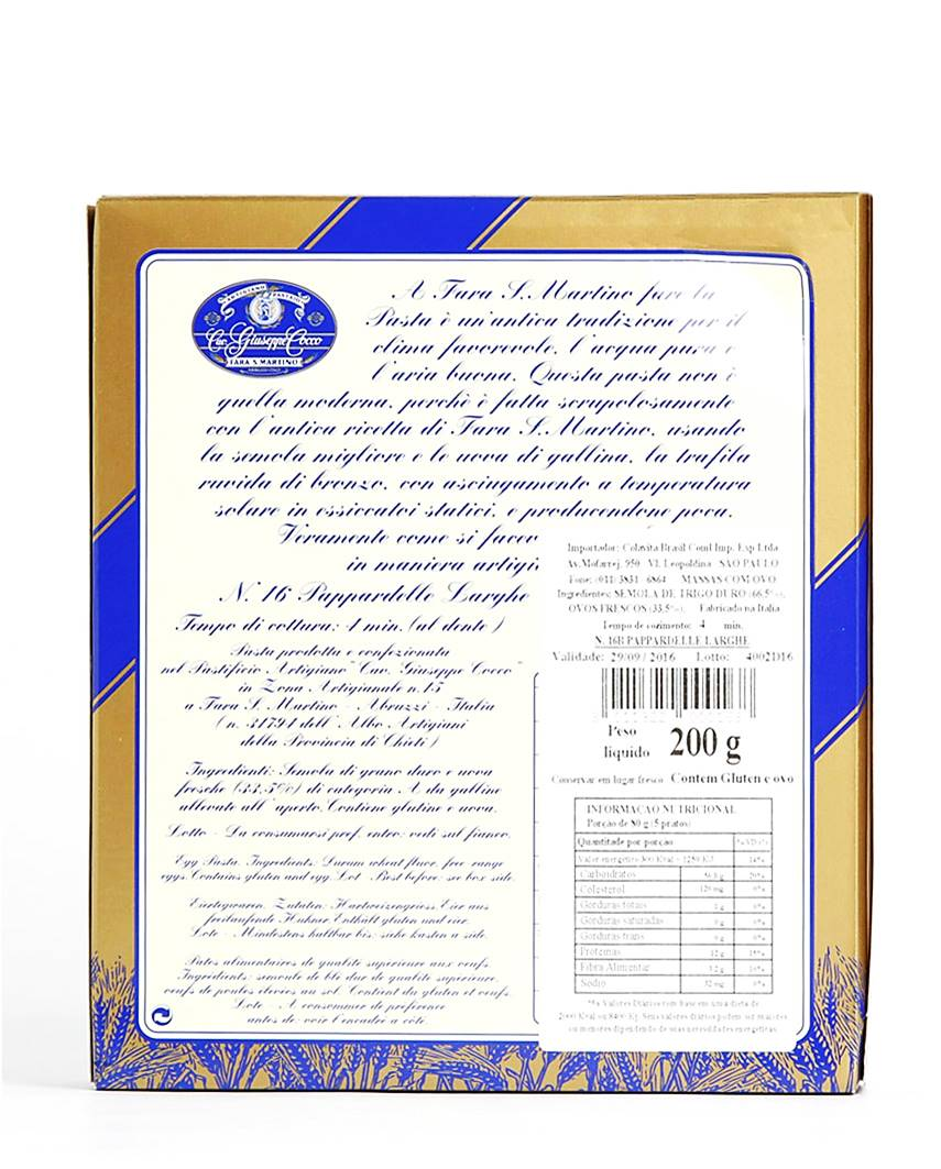 Pappardelle Larghe All Uovo GiuseppeCocco 200gr
