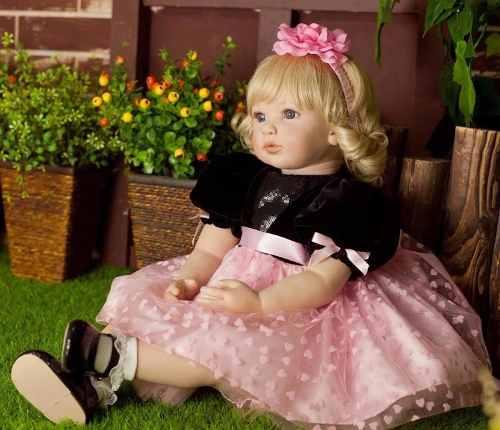 Boneca Bebê Menina Reborn Loira 55 cm