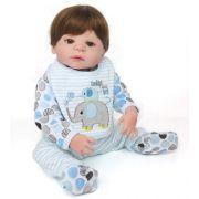 Bebê Reborn Menino Gabriel Castanho Vinil Silicone 55cm
