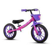 Bicicleta Nathor Balance Bike Equilíbrio sem Pedal Feminina