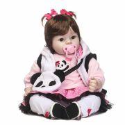 Boneca Bebe bebê Reborn Menina Alice Panda 52cm