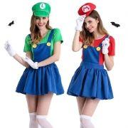 Fantasia Feminina do Mario ou Luigi Adulto + Luva
