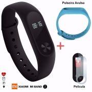 Pulseira Smart Mi Band 2 + Película + Pulseira Extra Azul
