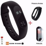 Pulseira Smart Mi Band 2 + Película + Pulseira Extra Preta