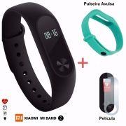 Pulseira Smart Mi Band 2 + Película + Pulseira Extra Verde Água
