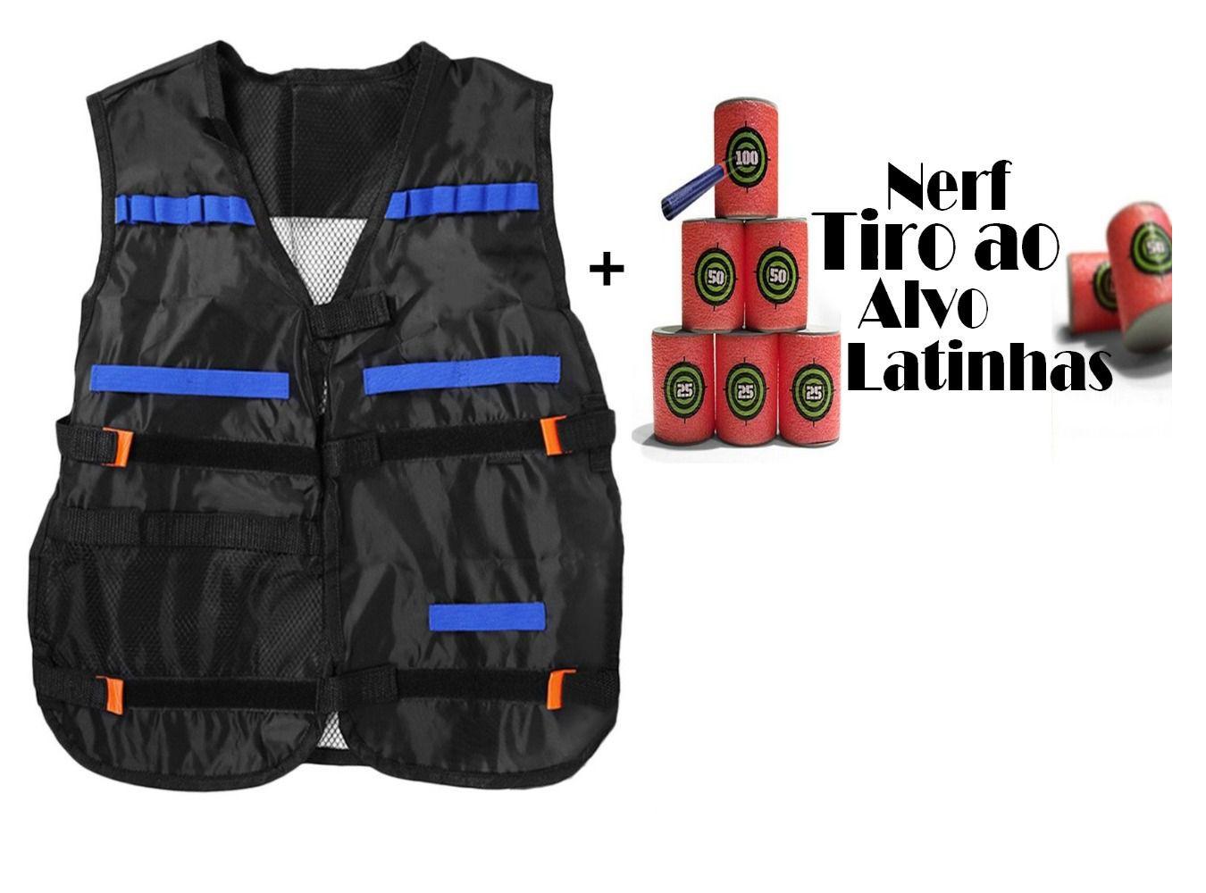 Kit 1 Colete Tatical + 1 Nerf Tiro ao Alvo 6 unidades