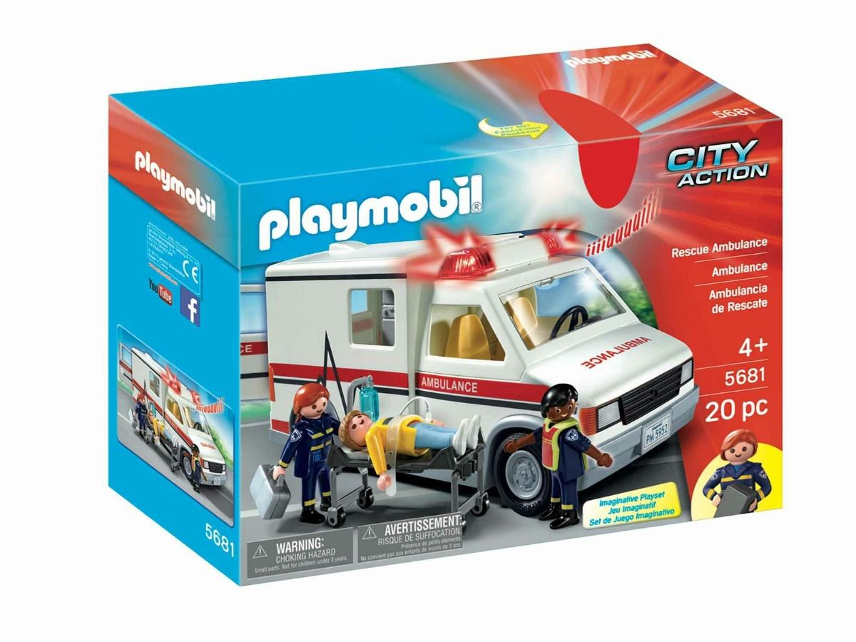 Ambulância City Action Com 20 Peças Original Playmobil 5681