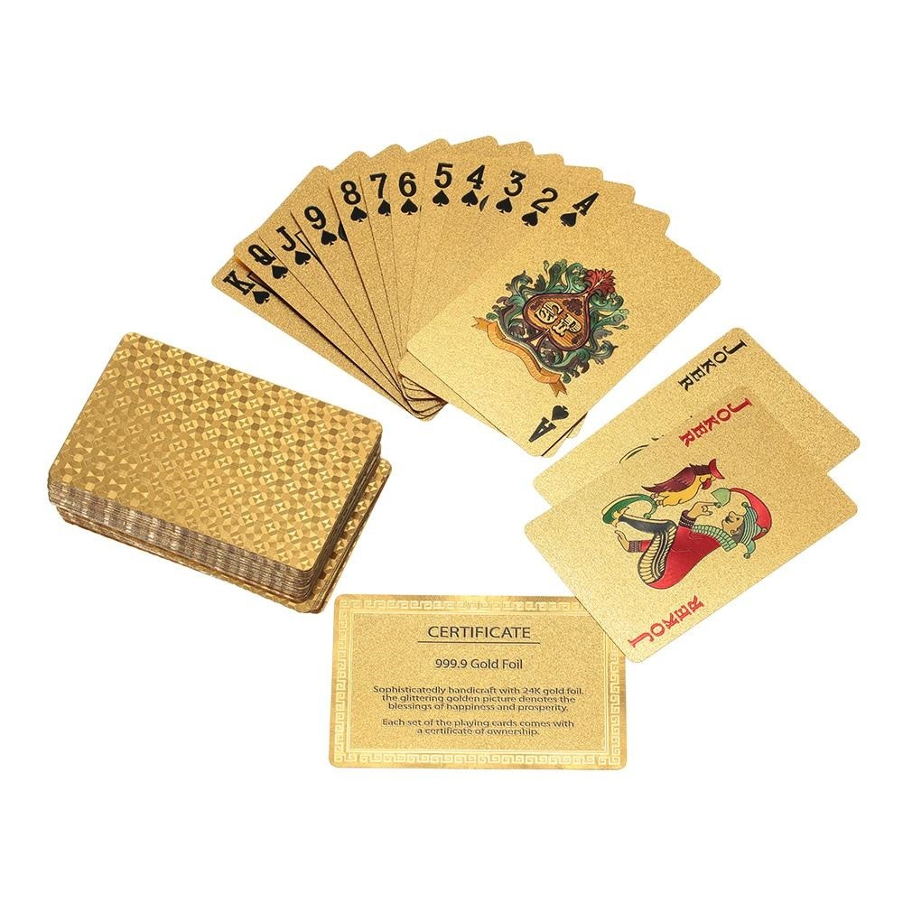 Baralho Dourado Folheado Ouro 24K 52 Cartas e 2 Coringas