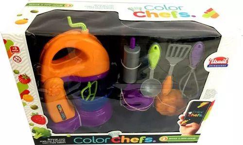Batedeira Laranja Cozinha Infantil Com Acessórios E App