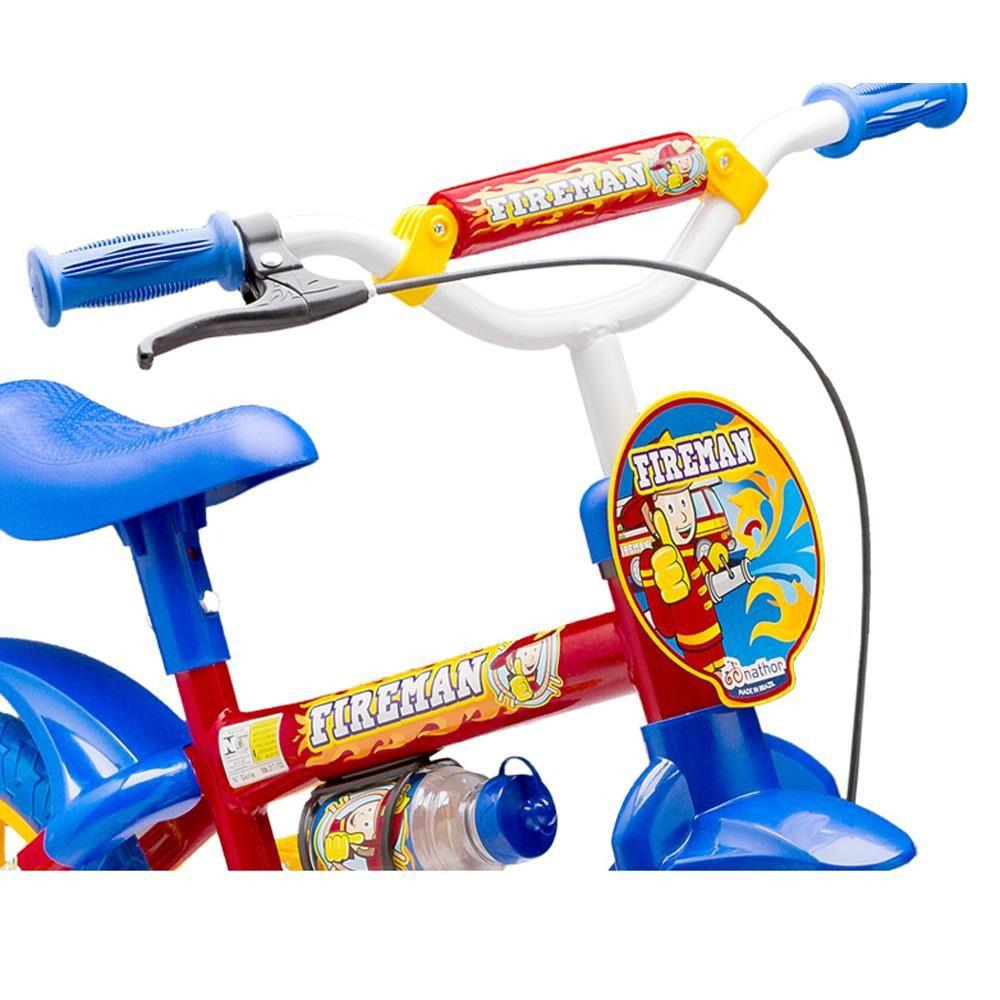 Bicicleta Infantil Aro 12 Fire Man Vermelha Azul Nathor