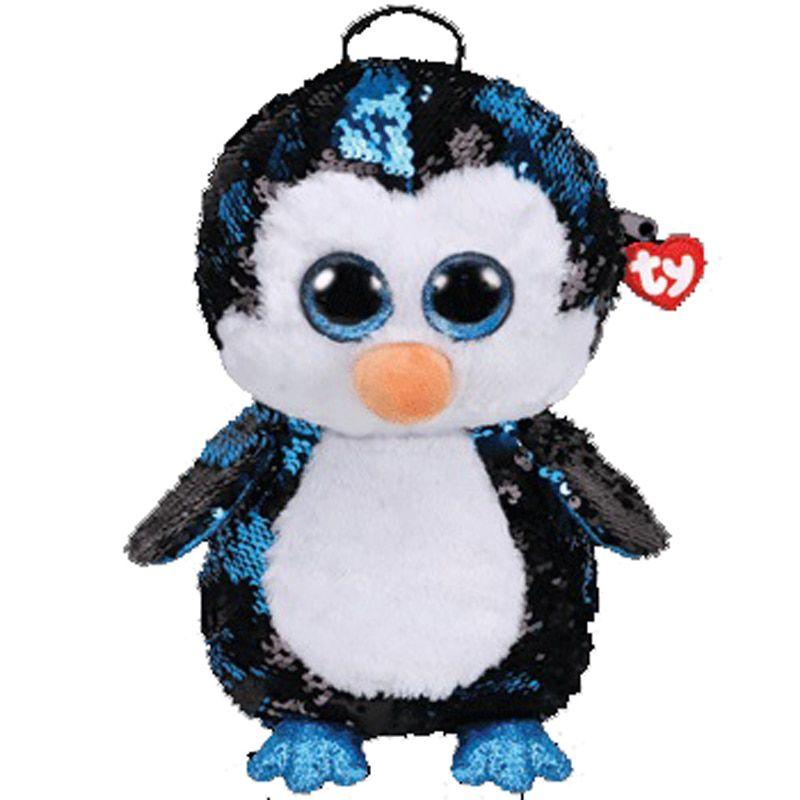 Bolsa Mochila Com Alça Ty Fashion Paetê Pinguim Waddles Dtc