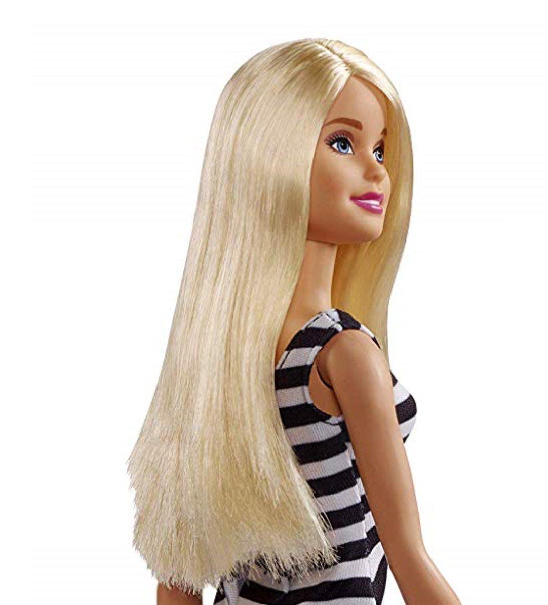 Boneca Barbie Loira Básica Glitz Vestido Branco E Preto