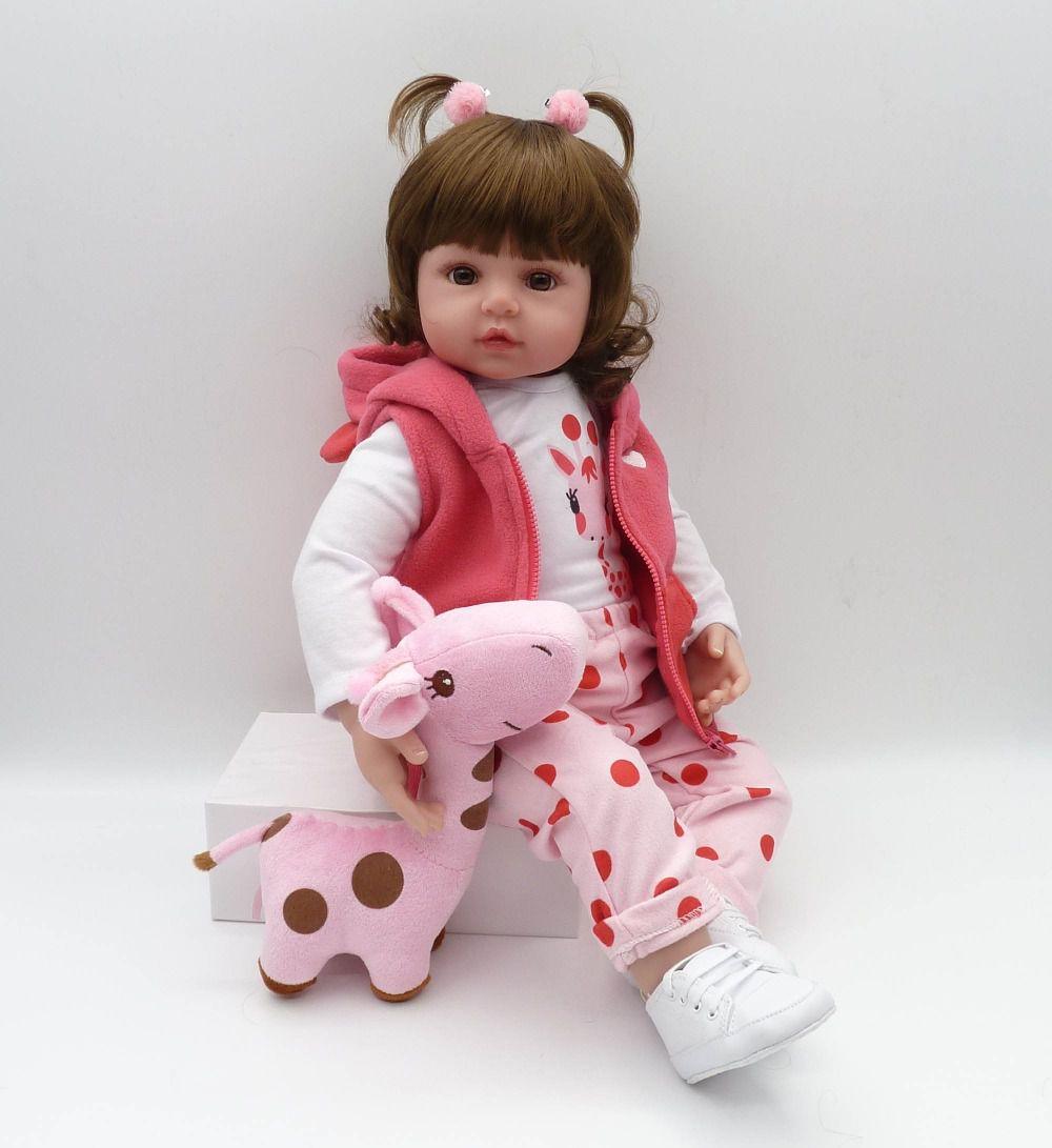 Boneca Bebê Reborn Gisele 60cm Girafa De Brinde