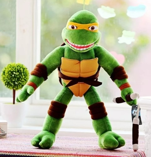Boneco Pelúcia Tartaruga Ninja Michelangelo Tmnt 40cm