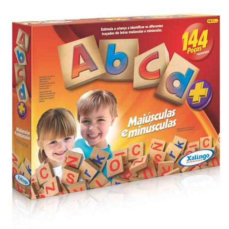 Brinquedo Educativo Madeira Abcd Alfabeto Letras 144 Peças