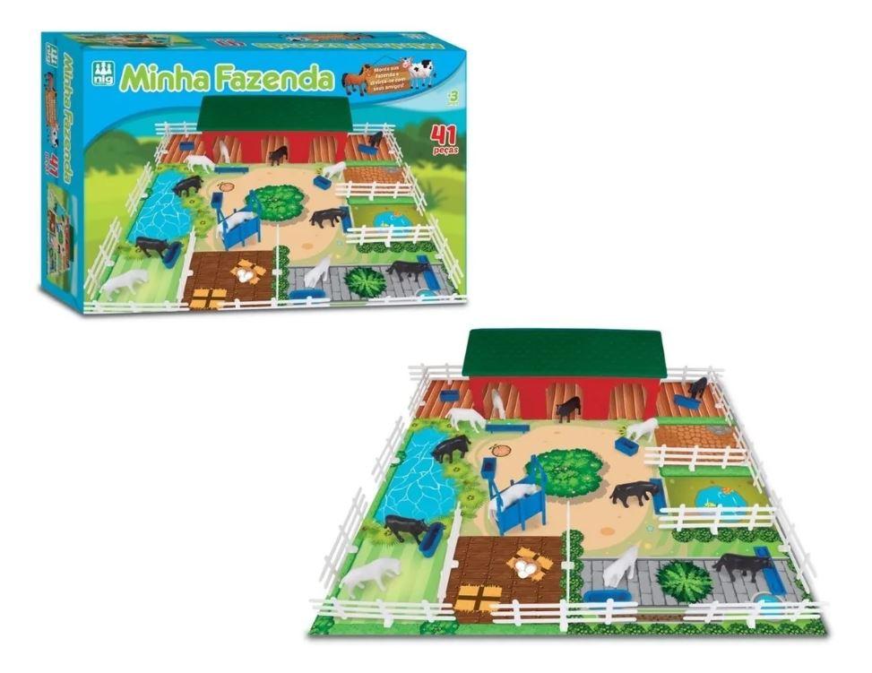 Brinquedo Minha Fazenda 41 Peças Animais Nig