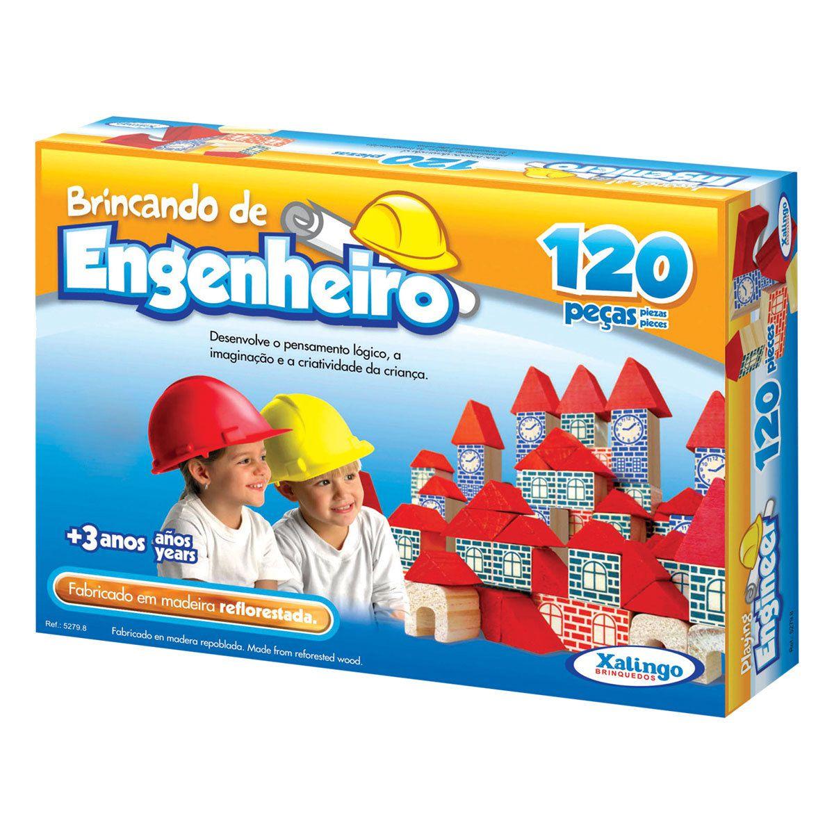 Brinquedo Madeira Brincando Engenheiro Xalingo 120 Peças