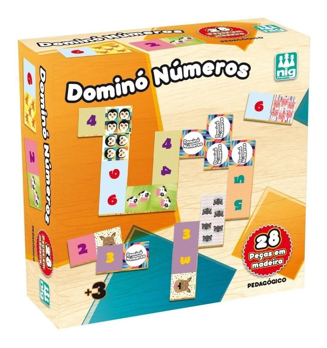 Jogo Pedagógico Dominó Números Infantil 28 Pcs Colorido Nig