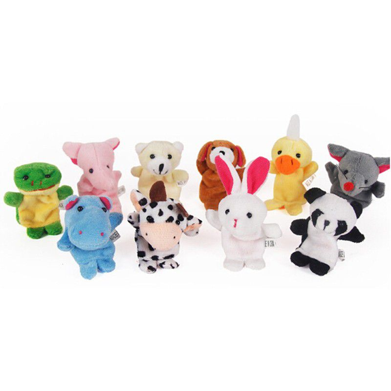 Kit Com 10 Fantoches De Dedos De Pelúcia Dedoches De Animais