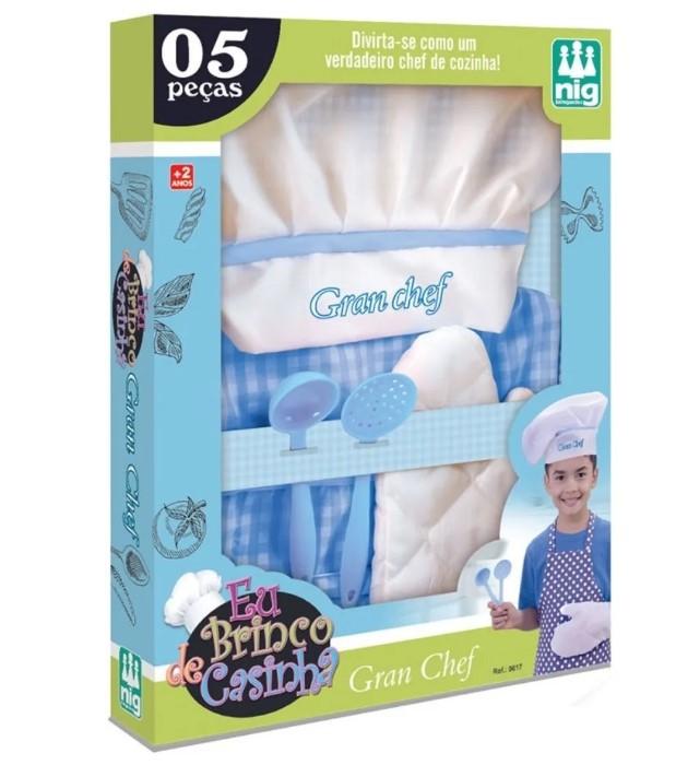 Kit Cozinheiro Infantil Gran Chef Azul Nig Brinquedos 0617