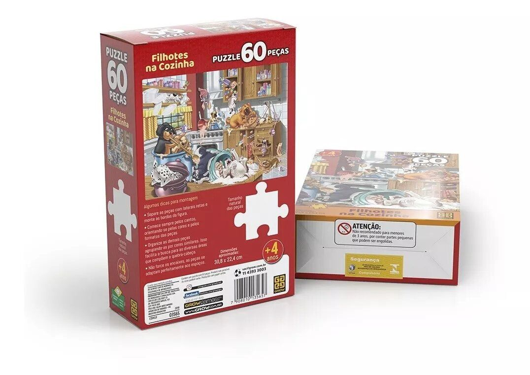 Puzzle 60 Peças Filhotes Na Cozinha Grow