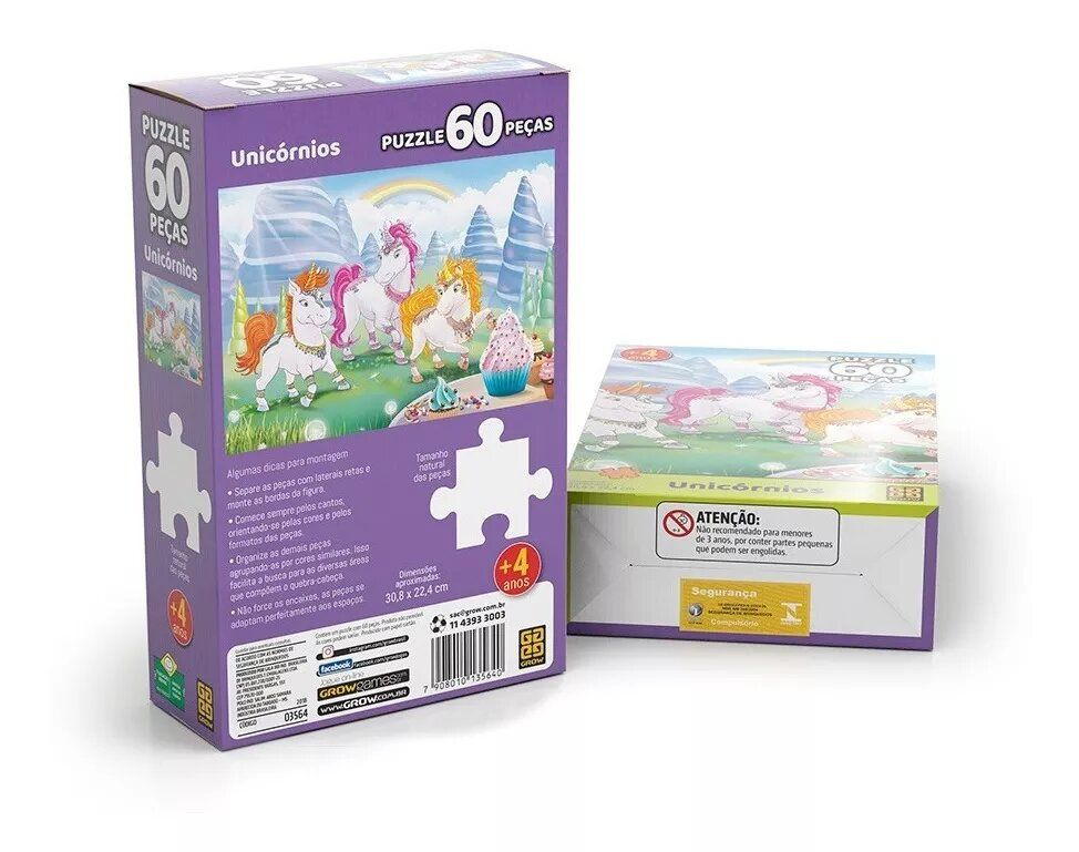 Puzzle Quebra Cabeça Unicórnios 60 Peças 03564 Grow