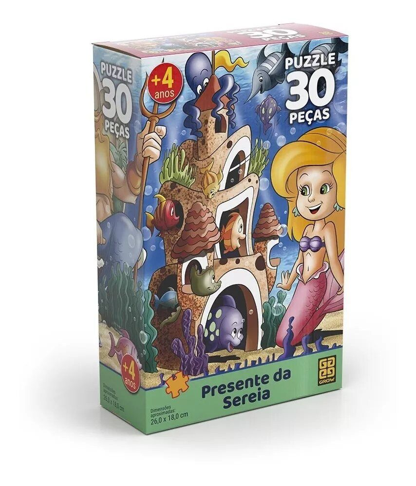 Quebra-cabeça 30 Peças Presente Da Sereia Grow