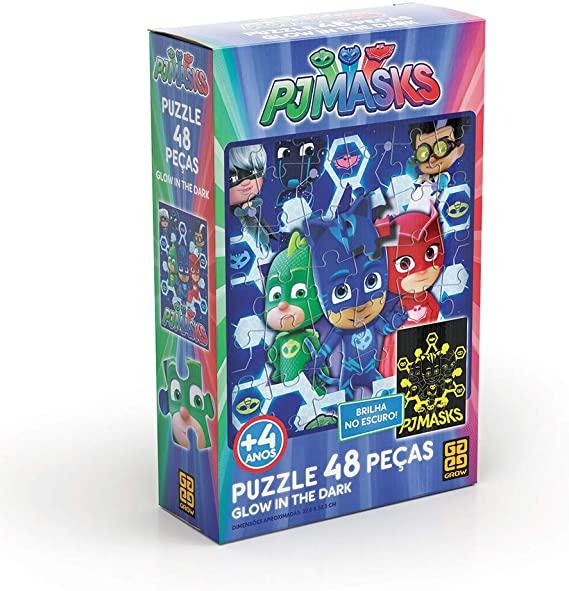 Quebra Cabeça Puzzle 48 Peças PJ Masks Glow In The Dark