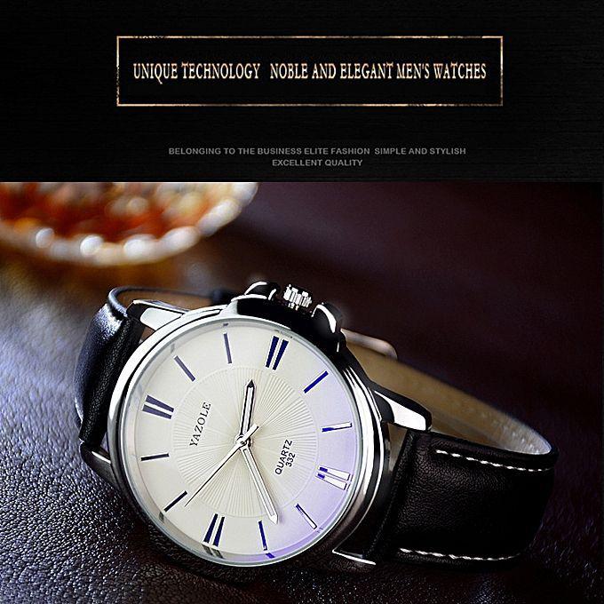 Relógio Yazole Aviation Quartz 332 Branco Couro Preto