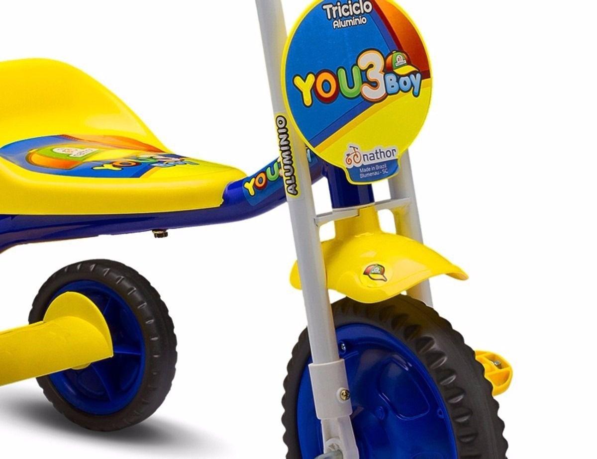 f21cfe0a25 Triciclo Infantil Menino You 3 Boy Nathor Amarelo AzulNathorCompre ...