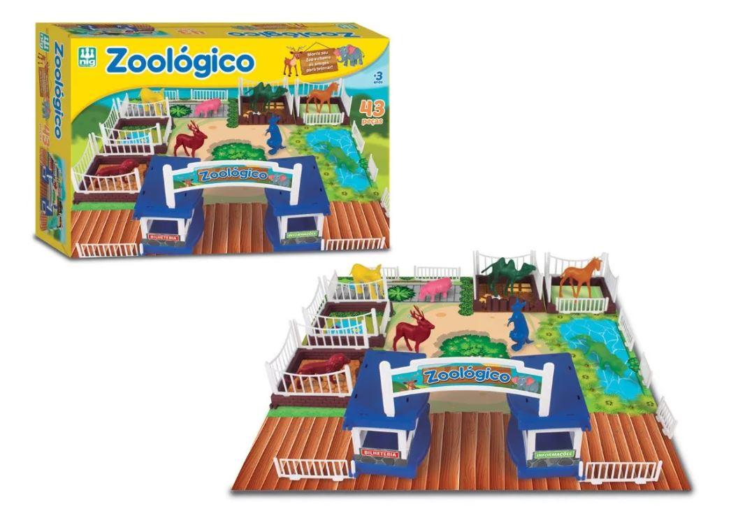 Zoológico Brinquedo 43 Peças Tabuleiro Zoo Animais Jaula Nig