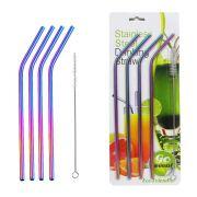 4 Canudos kit Aço Inoxidável Eco Reutilizáveis Coloridos Curvo Escova