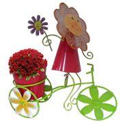 Boneca de Flor com Bicicleta Enfeite e Decoraçao Jardim Casa Flores Vaso Vermelho (BON-P-11)