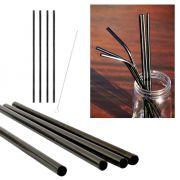kit 4 Canudos Pretos Aço Inox Reutilizáveis 1 Escova limpeza