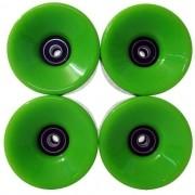 Kit Com 4 Rodas de Skate Longboard 60mm Abec 11 Esporte com Rolamento Profissional Silicone Verde (ra-h)