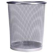 Lixeira Telada Redonda de Aço para Escritorio Cesto de Lixo Prata (34008-1)