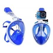 Máscara de Mergulho Snorkel Full Face Suporte Gopro Anti Embaçamento P/M Azul (BSL-xst-2)