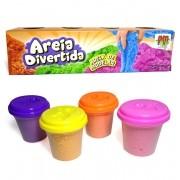 Massinha Areia de Modelar Divertida 4 Potes Colorida 280g (DMT5129)