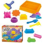 Massinha Areia de Modelar Divertida 900g Castelo 6 Moldes 5 Acessorios Diversos Brinquedo (DMT5121)